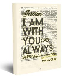 Custom Vintage Bible page PERSONALIZED verse scripture I am with You Always - Matthew 28:20 Christian wrapped CANVAS, prayer blessing dictionary wall & home decor gift. This reproduction wrapped CANVAS of a highlighted King James Bible scripture is sure to make a great personalized gift for someone. We scan real pages from old Bibles (thus they have slight flaws and aging such as bleeding words from the other side, because the pages are so thin), which just adds to the character. This is…