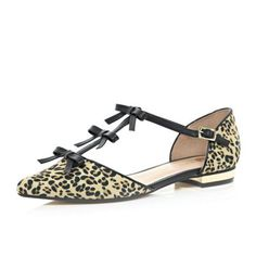 Brown leopard print bow front ballet shoes River Island £30