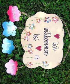 Türschild Blüten & Herzen