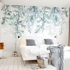 Mural wallpaper decor with pastel nature inspired designs. The beautiful Forest Fresco is a floral wallpaper that helps you create enjoyable atmospheres in any of your spaces. This floral mural wallpaper, with light nature inspired patterns can be used to Wallpaper Decor, Home Wallpaper, Living Room Floral Wallpaper, Bedroom Wallpaper Modern, Wallpaper Lounge, Floor Wallpaper, Office Wallpaper, Pastel Wallpaper, Bedroom Murals