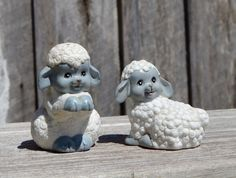 Sheep Salt & Pepper Shakers Lamb Gray White Shaker Set by WVpickin