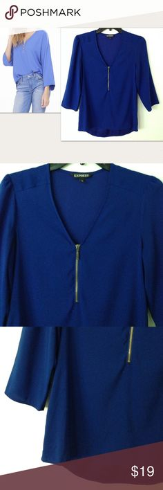 Express cobalt blue zipper front blouse Vibrant and bold cobalt blue zipper front blouse from Express with kimono style sleeves (loose fit). Worn once so it is in new condition! Flowy and incredibly smooth materials. 98%polyester 2%spandex. Size XS Express Tops Blouses