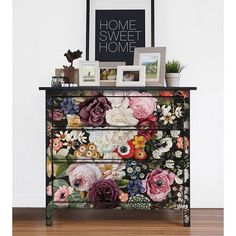 Re-design Prima Wondrous Floral Furniture Decor Transfer x Floral Furniture, Funky Painted Furniture, Recycled Furniture, Paint Furniture, Furniture Projects, Furniture Makeover, Furniture Decor, Wallpaper On Furniture, Furniture Outlet