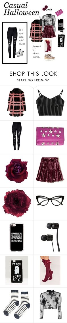 """Casual Halloween"" by kris-tin-22 ❤ liked on Polyvore featuring Shrimps, Jimmy Choo, Hollister Co., Accessorize, Casetify, Vans, ASOS, Missguided, Glamorous and STELLA McCARTNEY"