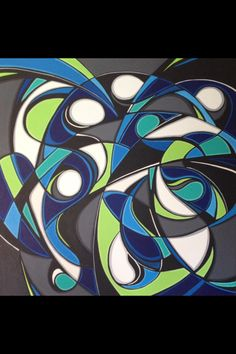 """Dynamic Fluidity""48x48x1&1/2in. abstract acrylic painting on gallery wrapped canvas."