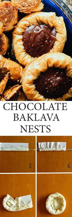 When chocolate meets Baklava good things happen. Like these crunchy melt-in-your-mouth Choco-Baklava-Nests! #Baklava #Chocolate Chocolate Baklava, Bakers Chocolate, Chocolate Filling, Greek Desserts, Greek Recipes, Pistachio Baklava, Cookie Recipes, Dessert Recipes, Cinnamon Almonds