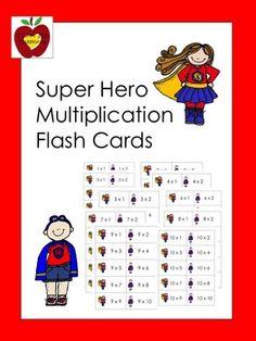Super Hero Multiplication Flash Cards