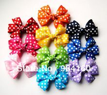 "3"" Polka Dot Pinwheel baby children Bow clip Assorted Colors 30pcs Mixed in 10 Colors(China (Mainland))"