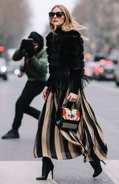 2829e55c913 Olivia Palermo + edgy street style + striped maxi skirt with fur jacket +  fall outfit inspiration