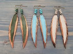 Long thin earrings Leather feather earrings Thin feather