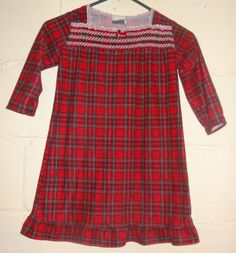 Girl-Red-Plaid-Nightgown-Size-4T-By-Pillow-Pals-Christmas-Holiday-Pajamas