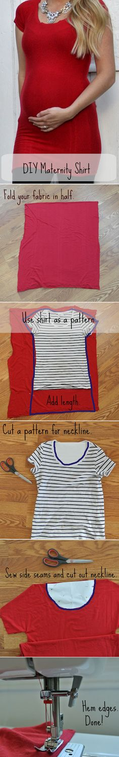 Super easy tutorial on how to make a comfortable maternity top...make smaller for baby :)