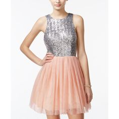 B Darlin Junior's Open-Back Sequined Tulle Dress ($60) ❤ liked on Polyvore featuring dresses, open back sequin dress, open back cocktail dress, b darlin dresses, bow dress and sequin embellished dress