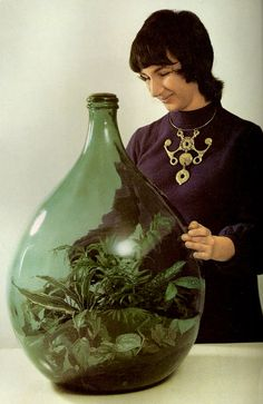 "Ubogy's terrarium, from Time-Life's ""Foliage House Plants"" book, by James Crockett of the famed WGBH Boston show, ""Crockett's Victory Garden."" I want this terrarium and her necklace! Indoor Garden, Indoor Plants, Garden Terrarium, Bottle Terrarium, Mini Terrarium, Bottle Garden, Book Of Life, Back In The Day, Houseplants"