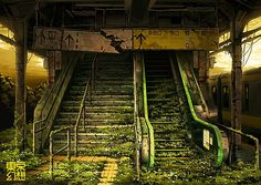 #abandoned #overgrown stair, japan, tokyo genso, nature, illustrations, postapocalypt tokyo, left behind, abandon, post apocalyptic