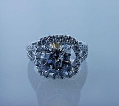5.47ctw Halo Desighn Natural Engagement Ring Diamond Very Good - Very
