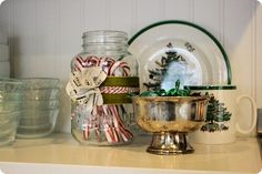 candy cane jar + use that silver bowl!