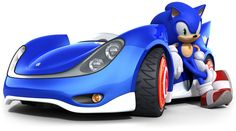 View an image titled 'Sonic Posed With Vehicle Art' in our Sonic & Sega All-Stars Racing art gallery featuring official character designs, concept art, and promo pictures. Sonic The Hedgehog, Hedgehog Art, Sonic Car, Game Sonic, Sonic Fan Characters, Sonic And Shadow, Videogames, Super Smash Bros, Courses