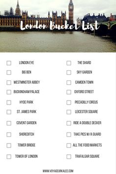 London Bucket List // lacking ~7...guess I have to go back!