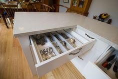 Large cutlery and utensil drawer. www.thekitchendesigncentre.com.au