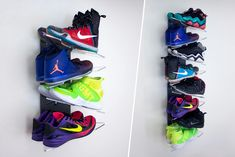 A Shoe Storage System Designed for Sneaker Collectors and Retail Environments - Shoe Storage Small, Diy Storage, Storage Ideas, Traditional Shoe Rack, Sneaker Storage, Alternative Shoes, Shoe Display, Rack Design, Boy Room