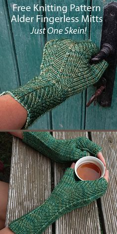 One Skein Fingerless Mitts Knitting Patterns - In the Loop Knitting Beginner Knitting Patterns, Knitting For Beginners, Free Knitting, Knitting Ideas, Knitting Projects, Chevron Fabric, Fingering Yarn, Sport Weight Yarn, Fingerless Gloves Knitted