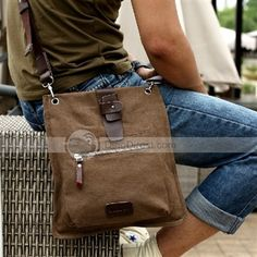 c98c40a5e4 MUZEE Classic Seperate Five Pockets Coffee Canvas Fabric Men Messenger Bag  - DinoDirect.com