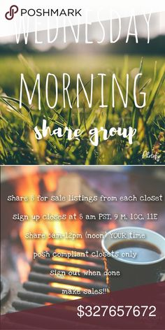 """Wednesday Morning Early Girly Share Group Sign Up .Grab some coffee and Let's get this started!   NEW MEMBERS sign in with """"new"""" beside your name, share first & THEN others will share you. This is only to cut down on the amount of moochers who sign up & do not share. Feel free to come back for new members AFTER they have shared you  Sign in by tagging your name  Share 8 listings from each closet  Like this listing so you can find it!  No comments until after sign up closes  PLEASE don't sign…"""