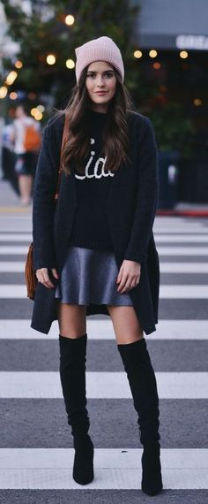 #winter #fashion / knee-length boots + pink