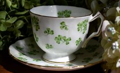 aynsley england bone china | Vintage Aynsley Fine Bone China Tea Cup and Saucer, Shamrock, Green ...