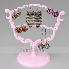New Retro pink 28 Holes Earring Ear Studs Jewelry Show Dispaly Stand Holder Rack