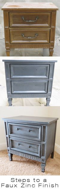 How to do a faux zinc finish - Pottery Barn and Restoration Hardware style. Lots of other furniture makeovers here too.