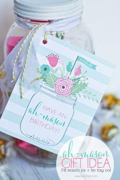 "Cute! ""Ah-mason"" birthday tags to tie onto mason jar for easy birthday gift. Fill with treats or goodies!"