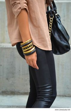 Leather panel pants and oversized shirt