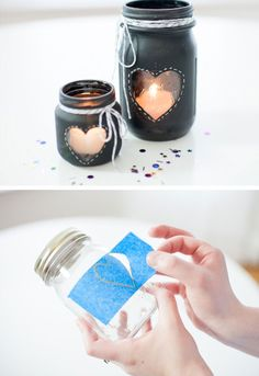 DIY Chalkboard Mason Jar Candle Centerpiece | Click Pic for 26 DIY Wedding Centerpieces on a Budget | DIY Wedding Decorations for Outside