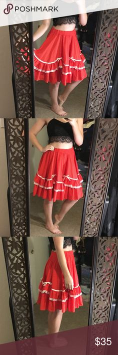 FUN Vintage Red Polka Dot Swing Skirt This super fun swingy red & white polka dot skirt will have you twirling all day! Fits modern size small. Has a tiny black mark on the bottom (literally can never find it to show it, so it probably will never be noticed) so I have priced accordingly. Vintage Skirts A-Line or Full