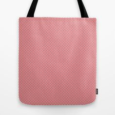 Houndstooth White & Red small Tote Bag by Julie's Thingummies - $22.00 Small Tote Bags, Hounds Tooth, Dog Teeth, Fabric Design, Reusable Tote Bags, Plaid, Fabrics, Red, Pink