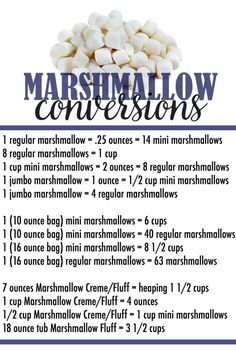 This Marshmallow Conversion Chart will serve as an easy resource when you measure marshmallows! This Marshmallow Conversion Chart will serve as an easy resource when you measure marshmallows! Homemade Rice Krispie Treats Recipe, Rice Crispy Treats, Homemade Marshmallows, Recipes Using Marshmallows, Cooking Measurements, Recipe Measurements, Serious Eats, Food Facts, Baking Tips