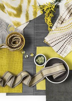 Inspired by both the current fashion and culinary traditions, Citrus Zest is a clean vibrant yellow infused with lime. Perfectly paired with grey and many other popular colors, a little of this bold color goes a long way. Fabric Board, Fabric Combinations, Colour Schemes, Color Combos, Fabric Patterns, Color Inspiration, Design Trends, Printing On Fabric, Pattern Design