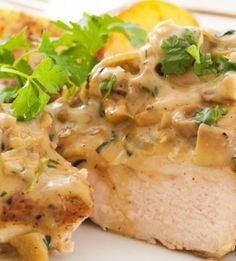 Chicken with Wild Mushroom and Balsamic Cream Sauce