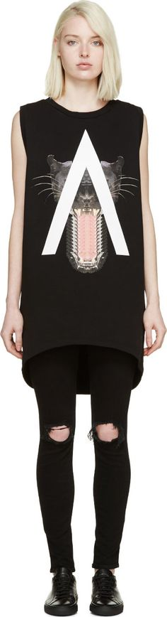 Marcelo Burlon County of Milan Black Gaona Sleeveless Sweatshirt Best Black Outfits, Check Shirt, Tee Design, Fashion Outfits, Womens Fashion, Milan, Street Wear, Black Jeans, Black Clothes