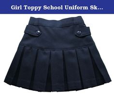 Girl Toppy School Uniform Skirt Twill Pleated Scooter (20, Navy). 100% polyester Girl's scooter skirt school uniform. Pleated front scooter skirt with hidden stretch shorts.