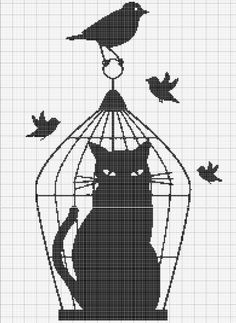 chat cage entier cross stitch