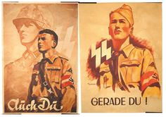 """Original recruiting posters for the 12th SS-Hitlerjugend Division. The Division commander Fritz Witt ensured his youthful soldiers recieved weekly session in Ideology. The purpose 'To make sure every man in the division understands what he is fighting for, and to transform the Hitler Youth into an SS Man who lives according to the fundamentals of the SS as a fanatic warrior."""" Fritz Witt, Nazi Propaganda, Every Man, Thing 1 Thing 2, World War Ii, Division, Wwii, Purpose, Youth"""