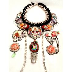 "Statement bib necklace , Frida Kahlo nekclace ,"" ROCK'N ROLL FRIDA "" , fashion jewelry , jewelry designs , unique jewelry ($731) found on Polyvore"