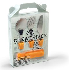 "Chewdivers Utensil Set    Having the right tools is important for any job, even eating dinner. So open up your Chewdriver toolbox and you?ll find everything you need. The three magnetic utensils snap securely into the tool-style handle and can be changed at will. How constructive!    Handle 3"", With Tool 6"" long  Food Safe, Hand Wash, Age 4 and up  Imported.  stock# CHEW   price: $15.00"