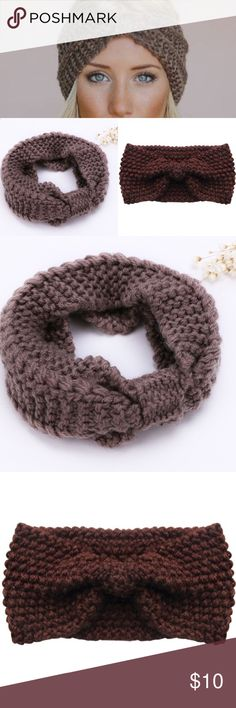 Crochet Knit Ear Warmer Headband Totally Cute! Wool crochet knit headband. Perfect for winter ☃️. I have one in coffee and tan  Accessories