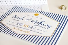 Preppy Chic Navy and Gold Foil Wedding Save the Dates via Oh So Beautiful Paper / Design by Kaydi Bishop / Printing by Czar Press
