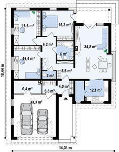 Plano de casa clásica y moderna de 3 dormitorios y 2 garajes-2