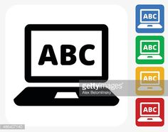 Vector Art : ABC on Laptop Screen Icon Flat Graphic Design